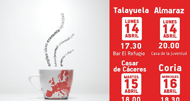 """JJSS inicia su campaña para las europeas en Talayuela con """"cafés-debate"""""""